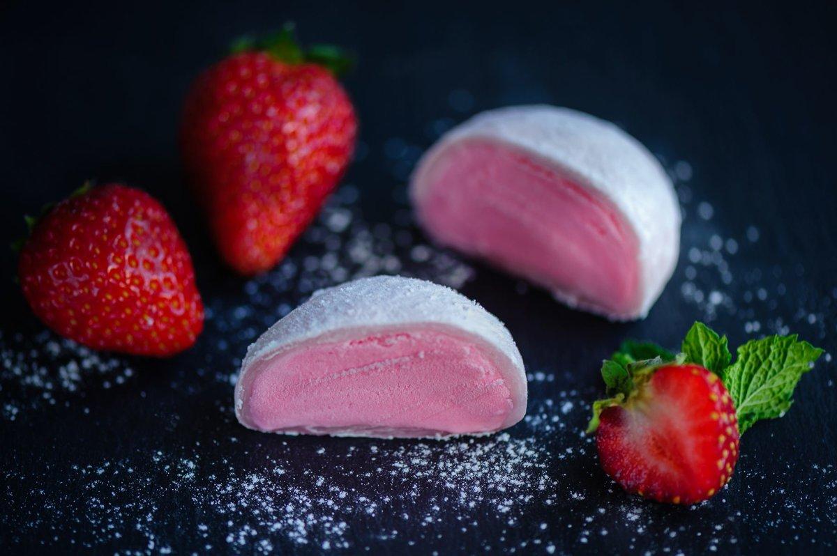 Mochi with Strawberry Ice Cream .